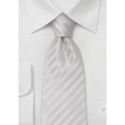 Elegant white silk tie with fine diagonal stripes