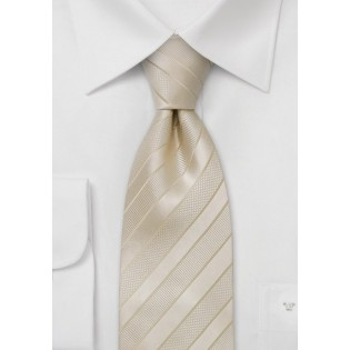 Cream colored striped silk tie