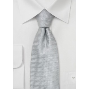 Silver Extra Long Ties - XL silk tie in silver