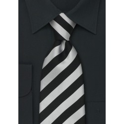 Striped Neckties - Black and grey striped silk tie