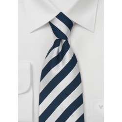 Striped Silk Ties - Blue & Silver striped necktie
