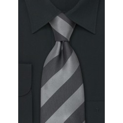 Striped Mens Ties - Gray & Silver Striped Silk Tie