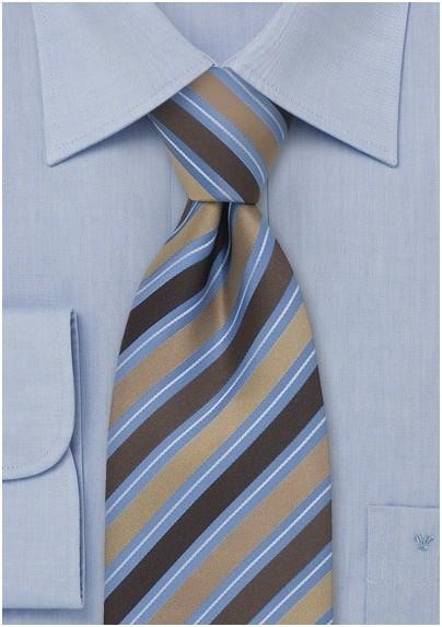 Brown & Blue Striped Silk Tie