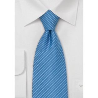 Light Blue Ties - Modern Striped Tie in Cornflower Blue