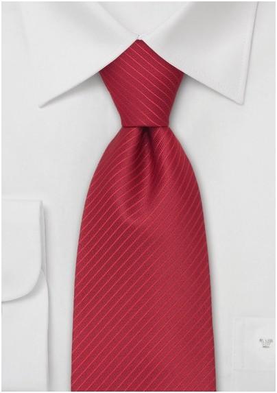 Modern Red Necktie - Solid Red Tie With Fine Stripes