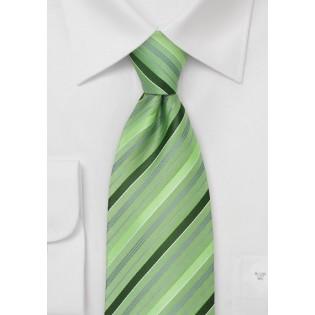 Moss Green Striped Necktie