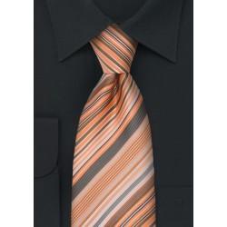 Coral Orange Striped Necktie