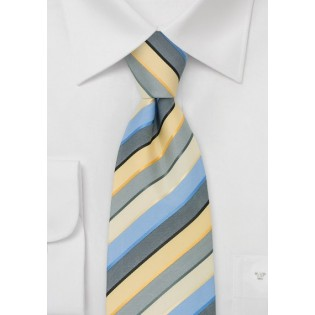 Striped Mens Ties - Blue, Yellow, and Gray Striped Tie