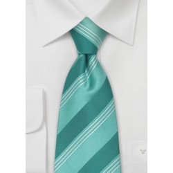 Seafoam Green Striped Kids Tie