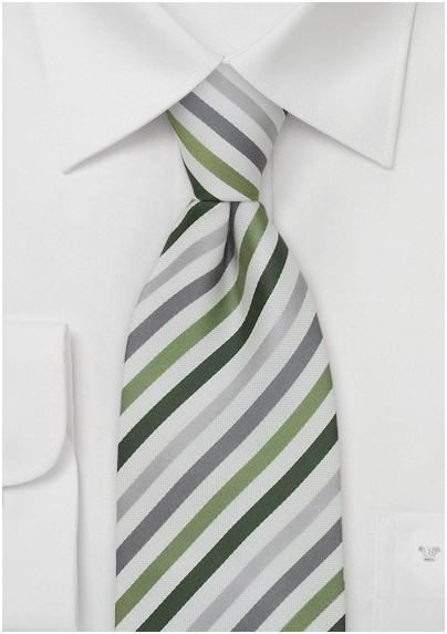 Green, Gray, Silver Striped Mens Tie