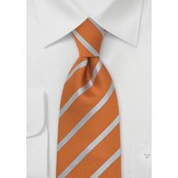 Burned Orange and Silver Striped Silk Tie