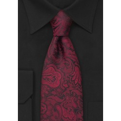Merlot-Red Paisley Pattern Tie