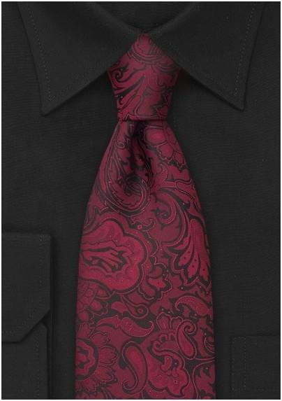 Merlot-Red Paisley Pattern Tie