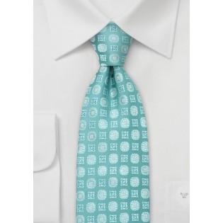 Aqua-Blue Floral Tie by Chevalier