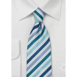 Striped Silk Tie in Teal, Aqua, and Blue