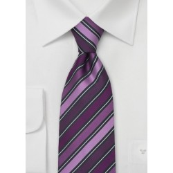 Modern Purple Striped Necktie by Cavallieri