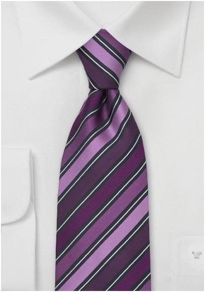 Modern Purple Striped Necktie by Cavallieri