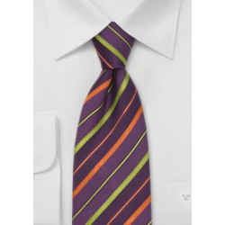 Striped Silk Tie in Lavender, Orange, and Lime-Green