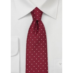 Cherry-Red Polka Dot Silk Tie