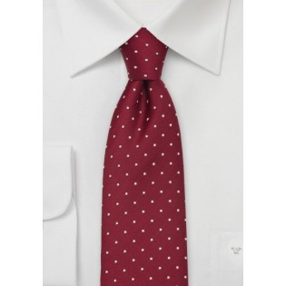 Cherry-Red Polka Dot Silk Tie