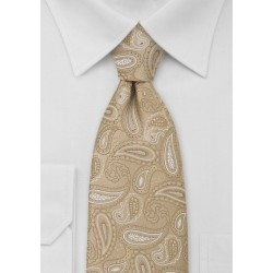 Golden Tan Paisley Necktie