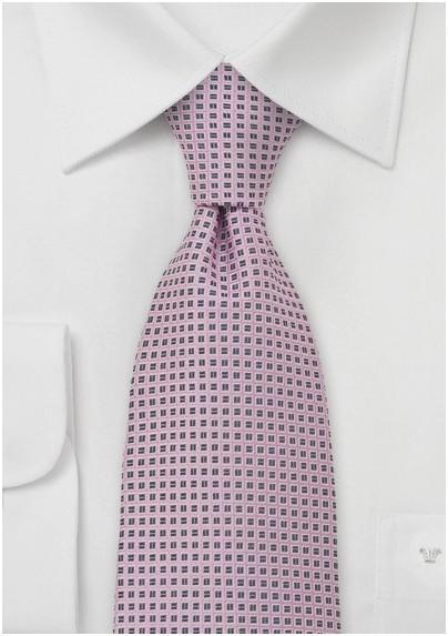Pink and Smoke Gray Silk Tie