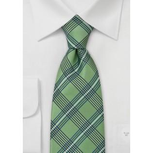 Green Plaid Pattern Silk Tie