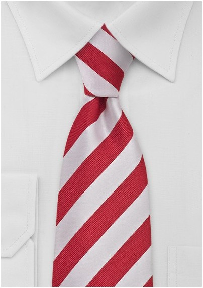 Bright Red and White Tie