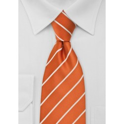 Striped Tie in Persimmon Orange White