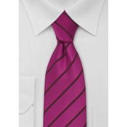 Hot Magenta Striped Mens Tie