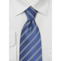 Bright Blue Striped Silk Tie