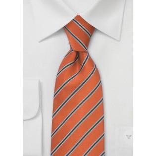 Pumpkin Orange Striped Mens Tie