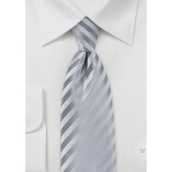 Subtle Striped Kids Tie in Silver