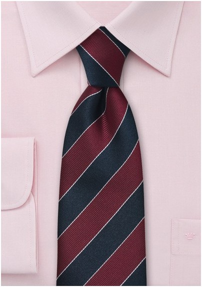 Striped Tie in Burgundy and Blue
