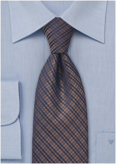 Copper and Navy Designer Tie