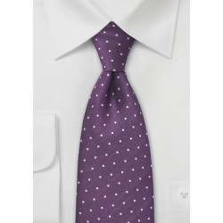 Purple Polka Dot Silk Tie