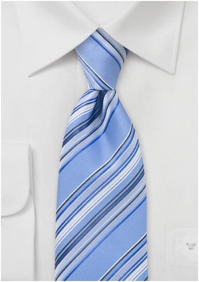 Sky Blue Striped Necktie