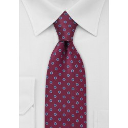 Wine Red and Blue Dotted Tie