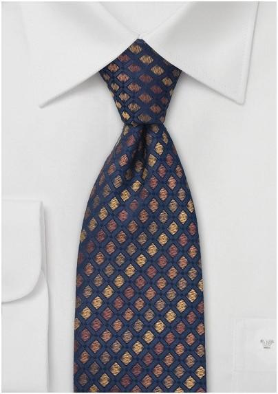 Navy and Bronze Brown Silk Tie