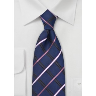 Navy Blue Checkered Necktie