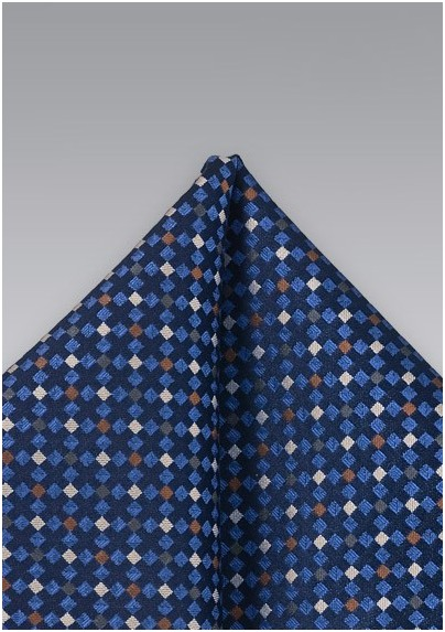 Blue Patterned Pocket Square