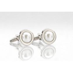 Silver Pearl Cuff Links