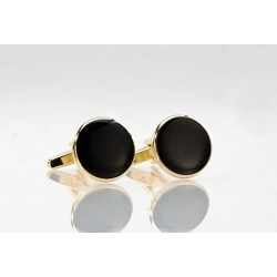 Round Black and Gold Cufflinks