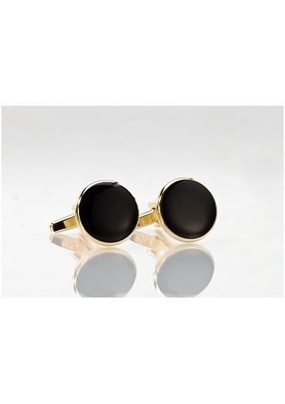 Round Black and Gold Cufflinks