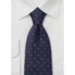 Blue Red Polka Dot Silk Tie