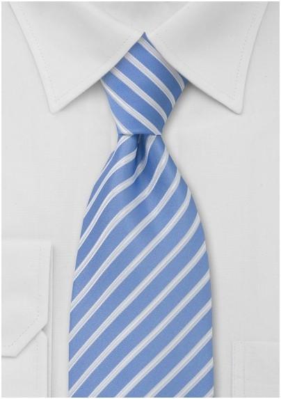Striped Tie in Light Blue, White