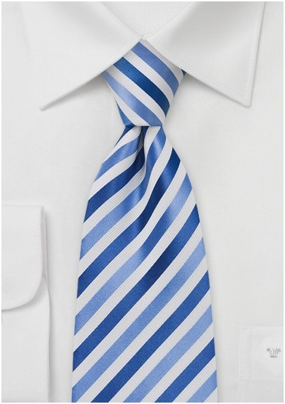Royal Blue and White Mens Tie