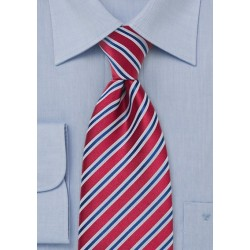 Striped Navy and Red Tie