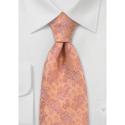 Pastel Orange Paisley Tie