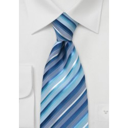 Marine Blue Striped Silk Tie